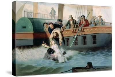 Tom Saves Evangeline-Adolphe Jean-baptiste Bayot-Stretched Canvas Print