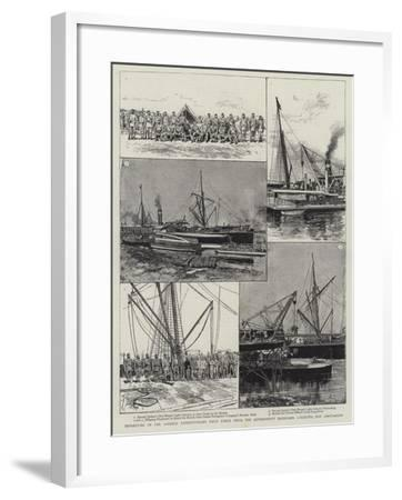 Departure of the Looshai Expeditionary Field Force from the Government Dockyard-Adrien Emmanuel Marie-Framed Giclee Print
