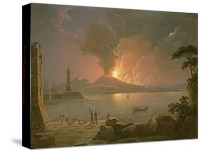 A View of Mount Vesuvius Erupting-Abraham Pether-Stretched Canvas Print