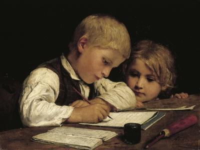 A Boy Writing; Schreibender Knabe Mit Schwesterchen, 1875-Albert Anker-Framed Giclee Print