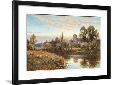 Sheep Grazing before Wrotham Church, Twilight-Alfred Augustus Glendening-Framed Giclee Print