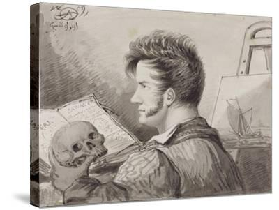 Self-Portrait as a Young Man with Skull, (Pencil, Ink and W/C on Paper)-Alexander Orlowski-Stretched Canvas Print