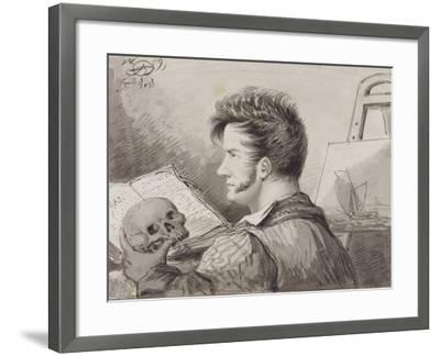 Self-Portrait as a Young Man with Skull, (Pencil, Ink and W/C on Paper)-Alexander Orlowski-Framed Giclee Print