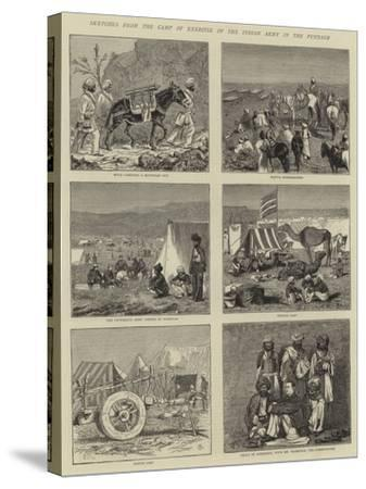 Sketches from the Camp of Exercise of the Indian Army in the Punjaub-Alfred Chantrey Corbould-Stretched Canvas Print