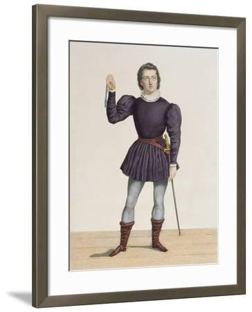 Frederick Lemaitre (1800-76) as Edgard in 'La Fiancee De Lammermoor' by Walter Scott (1771-1832) at-Alexandre Lacauchie-Framed Giclee Print