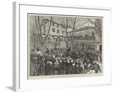 Arrival of the Queen at Grasse, Her Majesty Passing Through the Town to the Grand Hotel-Amedee Forestier-Framed Giclee Print