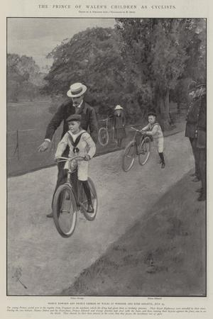 The Prince of Wales's Children as Cyclists-Amedee Forestier-Stretched Canvas Print