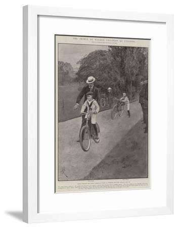 The Prince of Wales's Children as Cyclists-Amedee Forestier-Framed Giclee Print