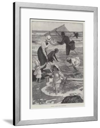 Shrimping, Amateurs Versus Professionals-Amedee Forestier-Framed Giclee Print