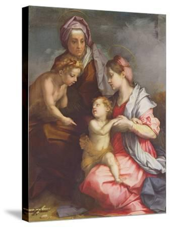 Madonna and Child with St. Elizabeth and the Infant St. John the Baptist (Panel)-Andrea del Sarto-Stretched Canvas Print