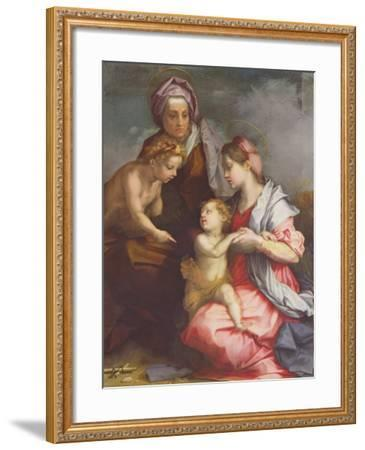 Madonna and Child with St. Elizabeth and the Infant St. John the Baptist (Panel)-Andrea del Sarto-Framed Giclee Print