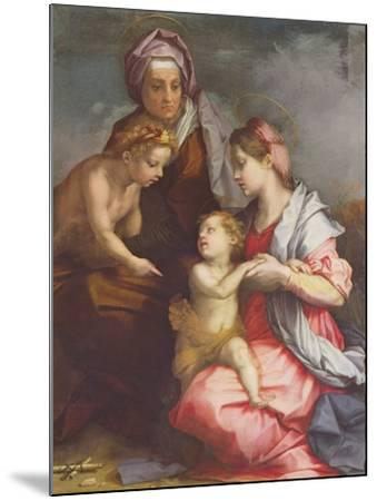 Madonna and Child with St. Elizabeth and the Infant St. John the Baptist (Panel)-Andrea del Sarto-Mounted Giclee Print