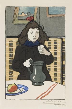 Young Girl with a Pitcher, 1890-Auguste Lepere-Framed Giclee Print