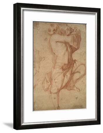 Semi-Nude Boy (Chalk on Paper)-Annibale Carracci-Framed Giclee Print