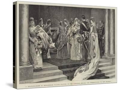 A Drawing-Room at Buckingham Palace, Waiting in the Corridor before the Presentation to Her Majesty-Arthur Hopkins-Stretched Canvas Print