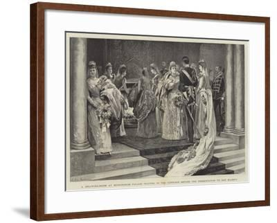 A Drawing-Room at Buckingham Palace, Waiting in the Corridor before the Presentation to Her Majesty-Arthur Hopkins-Framed Giclee Print