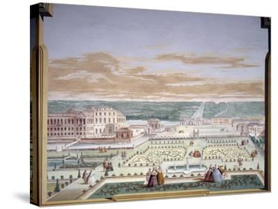 Perspective Drawing of a Villa and Imaginary Garden-Andrea Urbani-Stretched Canvas Print