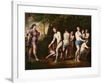 Diana and Her Nymphs Surprised by Actaeon-Andrea Vaccaro-Framed Giclee Print