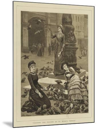 Feeding the Pigeons of St Mark's, Venice-Arthur Hopkins-Mounted Giclee Print