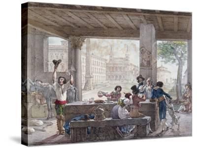 Inn in Rome, Engraved by Francois Alexandre Villain (1798-1884) C.1820-30-Antoine Jean-Baptiste Thomas-Stretched Canvas Print