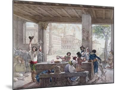 Inn in Rome, Engraved by Francois Alexandre Villain (1798-1884) C.1820-30-Antoine Jean-Baptiste Thomas-Mounted Giclee Print