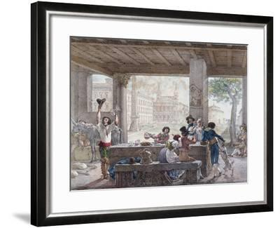 Inn in Rome, Engraved by Francois Alexandre Villain (1798-1884) C.1820-30-Antoine Jean-Baptiste Thomas-Framed Giclee Print