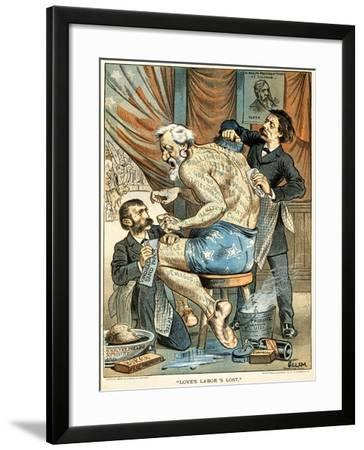 Love's Labor's Lost Published in Puck Magazine, 1884 (Colour Chromolithograph)-Bernard Gillam-Framed Giclee Print
