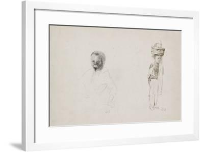 Studies of Two Young Boys with Faint Indications of a Female Figure, 1852-Camille Pissarro-Framed Giclee Print
