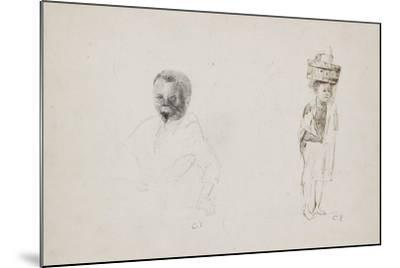 Studies of Two Young Boys with Faint Indications of a Female Figure, 1852-Camille Pissarro-Mounted Giclee Print