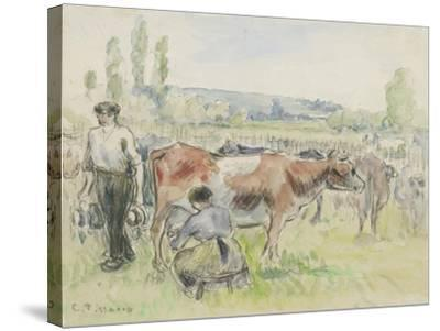 Compositional Study of a Milking Scene at Eragny-Sur-Epte, 1884 (Watercolour over Black Chalk)-Camille Pissarro-Stretched Canvas Print