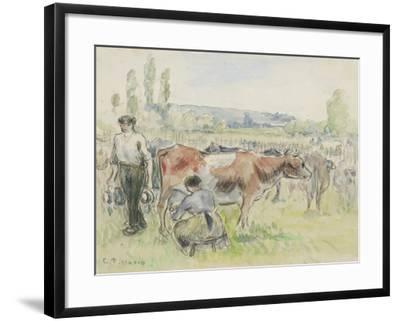Compositional Study of a Milking Scene at Eragny-Sur-Epte, 1884 (Watercolour over Black Chalk)-Camille Pissarro-Framed Giclee Print