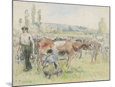 Compositional Study of a Milking Scene at Eragny-Sur-Epte, 1884 (Watercolour over Black Chalk)-Camille Pissarro-Mounted Giclee Print
