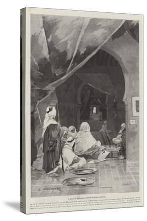 A Divan of the Grand Shereef of Wazan, Morocco-Charles Auguste Loye-Stretched Canvas Print