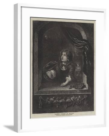 Blowing Bubbles-Caspar Netscher-Framed Giclee Print