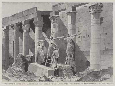 The Preservation of the Ruins at Philae from the Waters of the Assouan Reservoir-Charles Auguste Loye-Framed Giclee Print