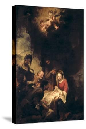 Adoration of the Shepherds-Bartolome Esteban Murillo-Stretched Canvas Print