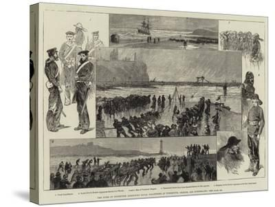 The Duke of Edinburgh Inspecting Naval Volunteers at Tynemouth, Shields, and Sunderland-Charles Auguste Loye-Stretched Canvas Print