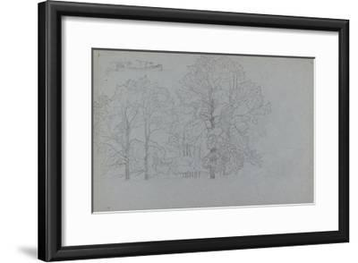 Study of Trees, with a Slight Study of a Barge, 1859-Camille Pissarro-Framed Giclee Print