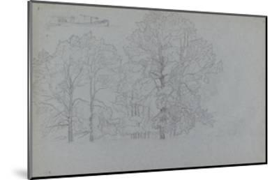 Study of Trees, with a Slight Study of a Barge, 1859-Camille Pissarro-Mounted Giclee Print