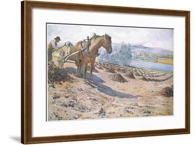 Muck Spreading on a Fallow Field-Carl Larsson-Framed Giclee Print