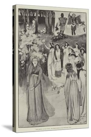 King Arthur, at the Lyceum, the Queen's Maying in the Whitethorn Wood-Cecil Aldin-Stretched Canvas Print