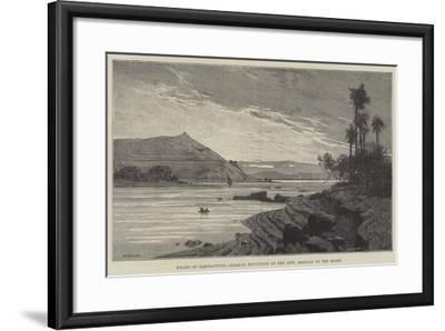 Island of Elephantine, Arabian Mountains on the Left, Assouan on the Right-Charles Auguste Loye-Framed Giclee Print