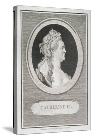 Catherine II (1729-96)-Augustin De Saint-aubin-Stretched Canvas Print
