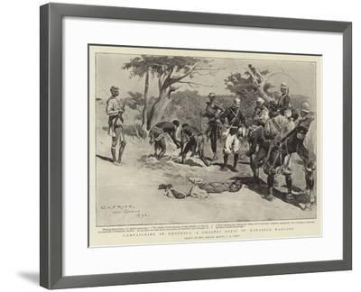 Campaigning in Rhodesia, a Ghastly Relic of Matabele Warfare-Charles Edwin Fripp-Framed Giclee Print