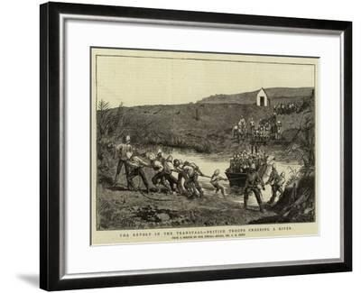 The Revolt in the Transvaal, British Troops Crossing a River-Charles Edwin Fripp-Framed Giclee Print