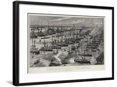 The Great Coronation Naval Display, Bird'S-Eye View of the Fleet Assembled at Spithead-Charles Edward Dixon-Framed Giclee Print
