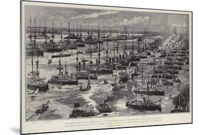 The Great Coronation Naval Display, Bird'S-Eye View of the Fleet Assembled at Spithead-Charles Edward Dixon-Mounted Giclee Print