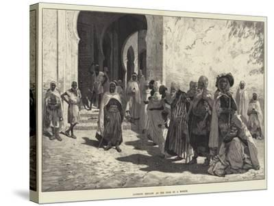 Algerine Beggars at the Door of a Mosque-Charles Auguste Loye-Stretched Canvas Print
