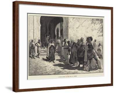 Algerine Beggars at the Door of a Mosque-Charles Auguste Loye-Framed Giclee Print