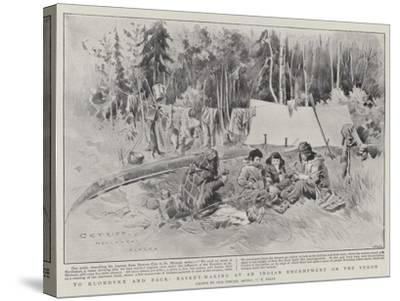To Klondyke and Back, Basket-Making at an Indian Encampment on the Yukon-Charles Edwin Fripp-Stretched Canvas Print